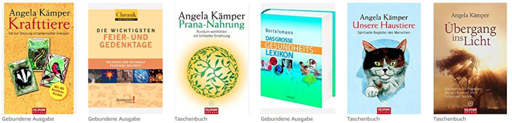 5 cover von Büchern von Angela Kämper, mit Krafttiere, aber ohne Tierboten Cover
