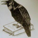 im Hundeforum eine Zeichnung: ein Rabe sitzt auf einem Buchs